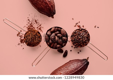 Rose gold measuring cups of cocoa beans, cacao nips, cocoa powder and cocoa pods on a pink background, flat lay healthy food concept #1228949830
