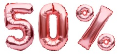 Rose golden fifty percent sign made of inflatable balloons isolated on white.Helium balloons, pink foil numbers. Sale decoration, black friday, discount concept. 50 percent off, advertisement message.