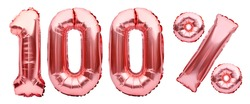 Rose golden one hundred percent sign made of inflatable balloons isolated on white. Helium balloons, pink foil numbers. Sale decoration, black friday, discount. 100 percent real, original product