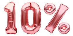 Rose golden ten percent sign made of inflatable balloons isolated on white. Helium balloons, pink foil numbers. Sale decoration, black friday, discount concept. 10 percent off, advertisement message.