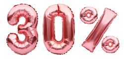 Rose golden thirty percent sign made of inflatable balloons isolated on white.Helium balloons, pink foil numbers. Sale decoration, black friday, discount concept.30 percent off, advertisement message.