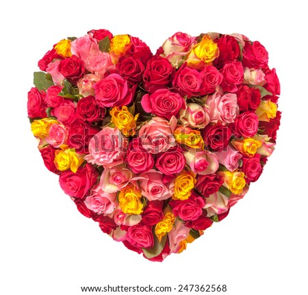 Stock Photo Rose heart isolated on white, clipping path included