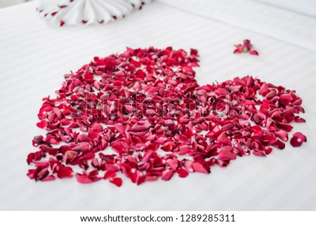 Rose heart shape is a symbol of love. Located on the double for couples and a warm atmosphere, with Valentine's Day Wedding Valentine's Day!