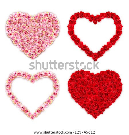 Rose hearts on white background