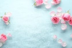 Rose in water,spa background.