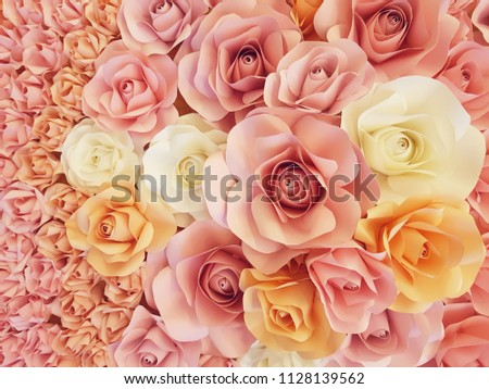 rose making from paper in sweet color tone for background decoration #1128139562