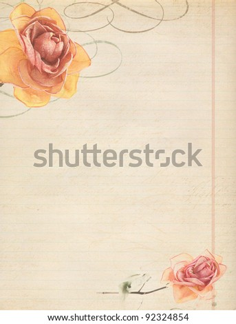 rose on old vintage paper with space
