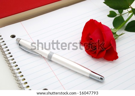 rose pen and book