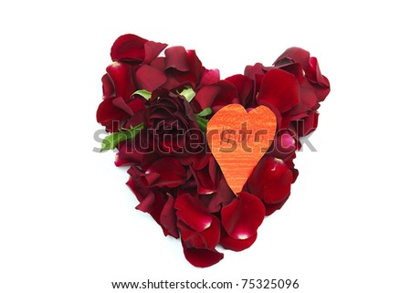 rose petal red heart and red rose - stock photo
