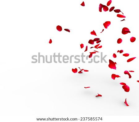 Stock Photo Rose petals falling on a surface on a white background isolated