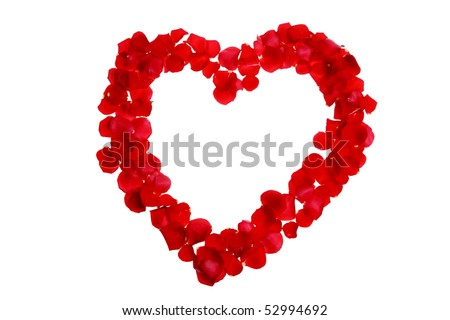 Rose petals in a shape of a heart