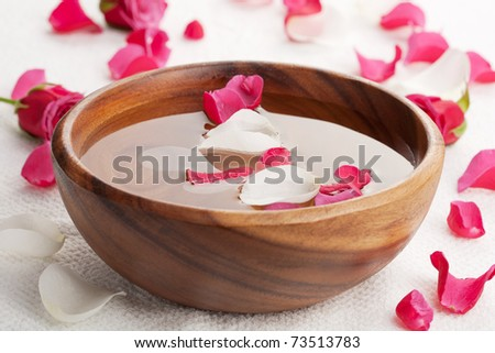 rose petals in bowl