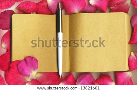 Rose petals with the notebook