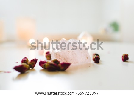 Rose quartz crystal with rose buds #559923997