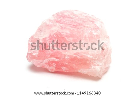 Rose quartz mineral isolated on white background