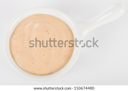 Rose Sauce / Fry Sauce Dip - Bowl of dipping sauce made with ketchup and mayonnaise. Shot from above on a white background.