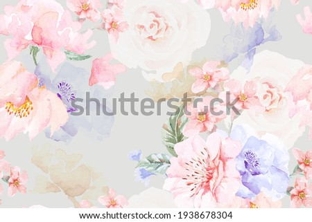 Rose seamless pattern with watercolor on pastel background.Designed for fabric luxurious and wallpaper, vintage style.Hand drawn floral pattern illustration.Rose garden.Pink flower bouquet. Stock foto ©