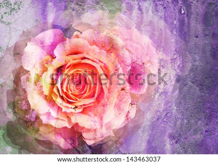 rose - styled picture with patina texture