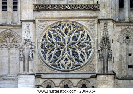 Rose window in Saint-Andre Cathedral, Bordeaux, Gironde, France