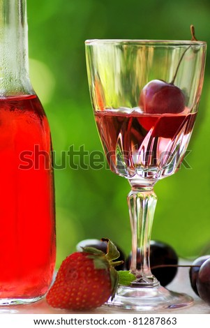 Rose wine and fruits.