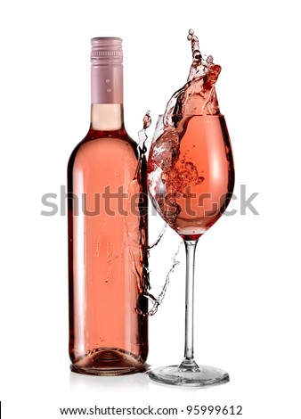 Rose wine bottle and a full glass splash