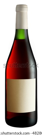 Rose wine bottle isolated on a white