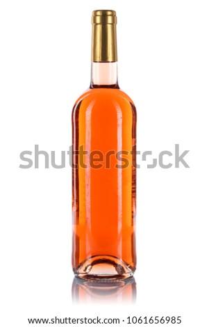 Rose wine bottle isolated on a white background #1061656985