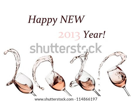 Rose wine splash happy new 2013 Year