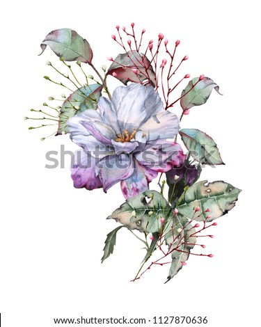 Rose with leaves in a bouquet. isolated on white background. Watercolor illustration