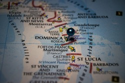 Roseau, the capital and largest city of Dominica pinned on geographical map