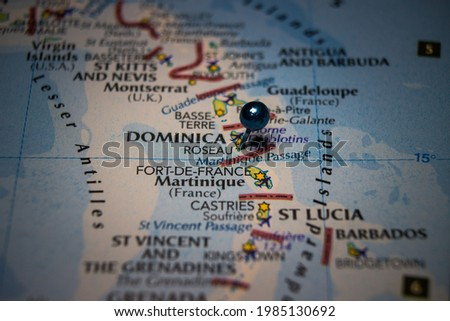 Roseau, the capital and largest city of Dominica pinned on geographical map Stockfoto ©