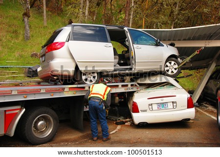 ROSEBURG, OR - APRIL 18: The results of a bizarre accident where an elderly male driver mistook the accelerator pedal for the brake. April 18, 2012 in Roseburg, OR