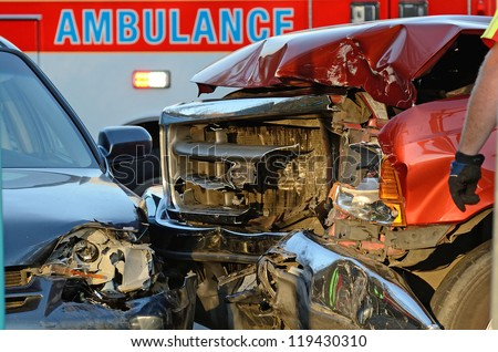 ROSEBURG OR - NOVEMBER 6: Two vehicle accident at hospital entrance results in injuries to passenger in one of the cars who had to be extricated by fire department in Roseburg Oregon, November 6, 2012