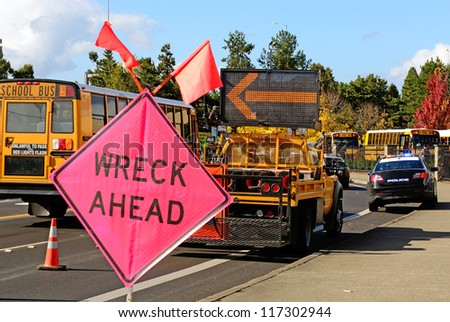 ROSEBURG, OR - OCTOBER 16:Traffic control at a truck rollover accident at the entrance to Interstate 5 causes backup in Roseburg Oregon, October 16, 2012