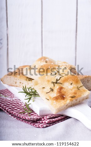 Rosemary Focaccia cut into pieces