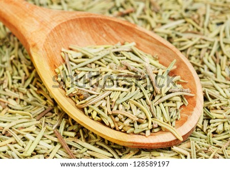 rosemary in wooden spoon and over as background