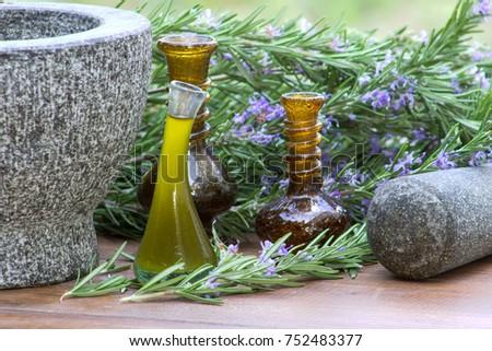 Rosemary, rosemary oil and mortar. #752483377