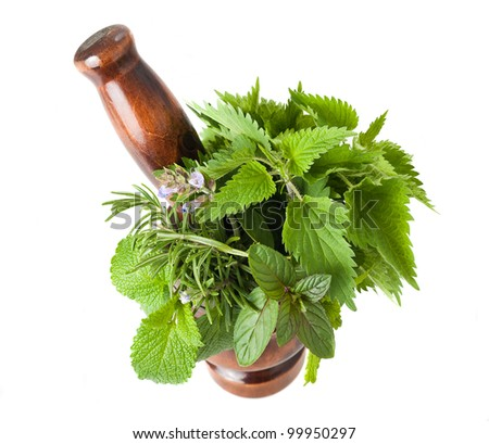Rosemary, sage,peppermint,lemon balm and nettles in a mortar