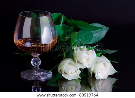 roses and glasses - stock photo