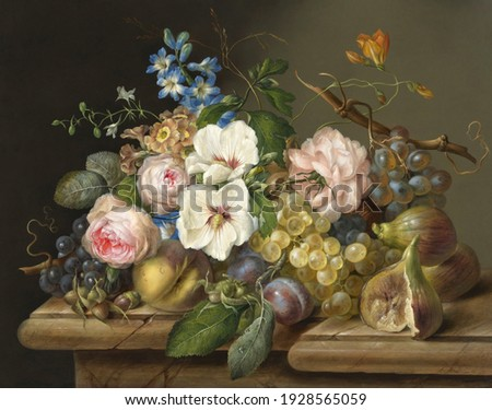 Roses and grapes . Still life. In the style of the ancient Dutch masters. Painting oil canvas 2021. Zdjęcia stock ©