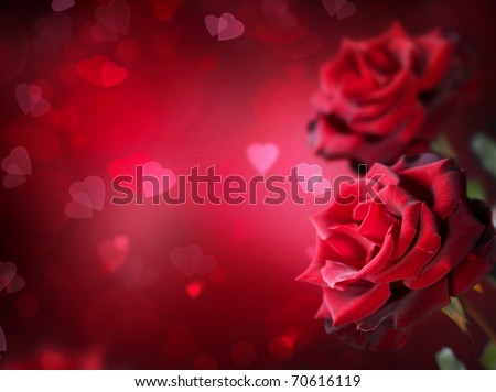 Roses and Hearts background.Valentine or Wedding Card.
