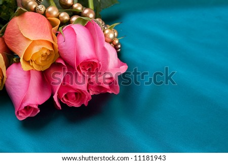 Roses and jewelery - background