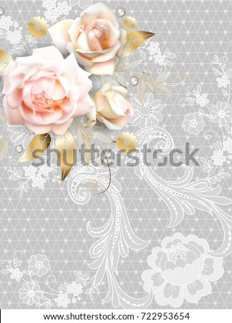 roses and lace on grey...