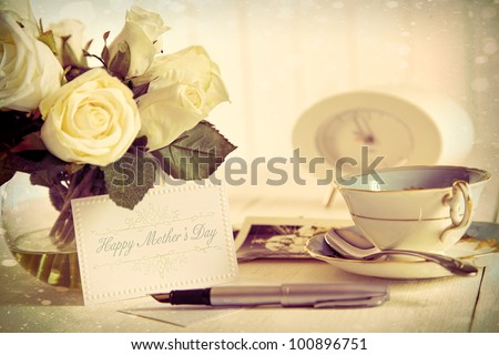 Roses and note card for Mother's day with vintage feel