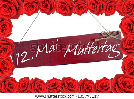 roses and shield with the german words mother day / mother day