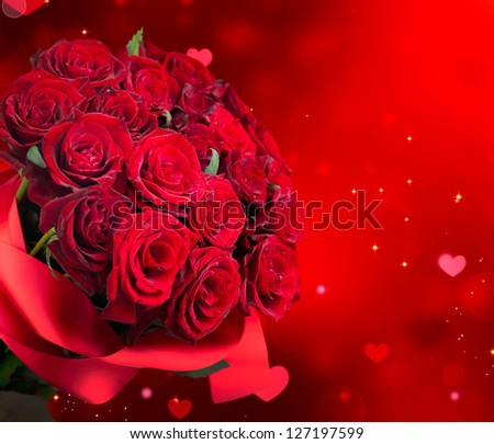 Roses Bouquet and Hearts background. Valentine or Wedding Card. Red Valentines Day Design. Bunch of Roses