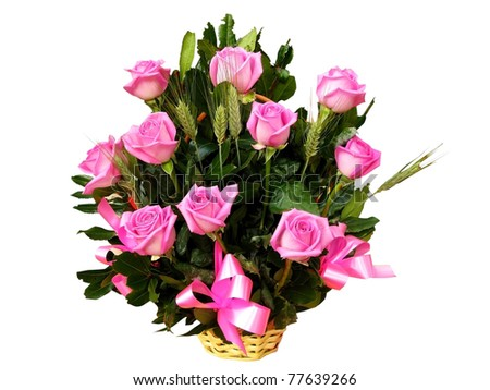 Roses bouquet in a basket, isolated with clipping path included