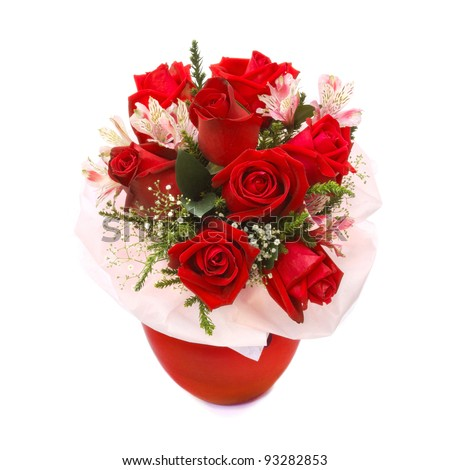 Roses bouquet in red vase isolated on white background