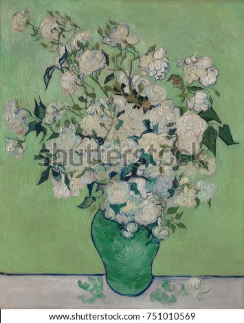 Roses, by Vincent Van Gogh, 1890, Dutch Post-Impressionist, oil on canvas. The paintings original pink roses has faded because he used impermanent red pigments