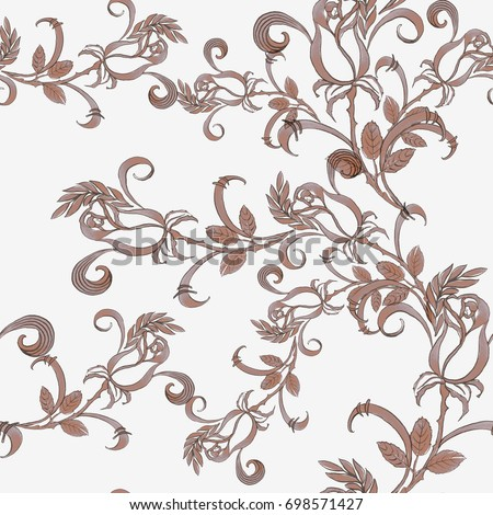 Roses.  Decorative composition.Seamless pattern. Use printed materials, signs, items, websites, maps, posters, postcards, packaging. #698571427